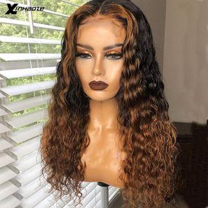 Mel loira Destaque Wig 13x6 parte dianteira do laço humano perucas de cabelo Onda Curly Ombre Cabelo Humano Virgin Wet ondulado da Mulher Negra