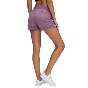 Summer new girls' Bodybuilding bottoms loose and breathable solid color sports hot pants woven elastic waist lace up YOGA SHORTS
