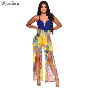 Wjustforu سبليت طباعة شاطئ بذلة المرأة معطلة الكتف السباغيتي حزام مثير بذلة الإناث عارية الذراعين أنيقة واسعة الساق ارتداءها