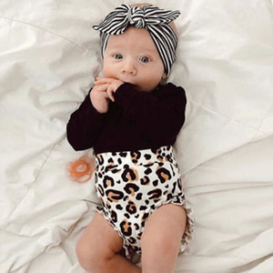 Toddler Infant Baby Kids Girl Black Long Sleeve Romper Tops+Leopard Print Short Pants 2PCS Casual Outfits New Fashionable