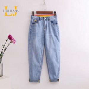 Leijijeans alle Saison blau Frauen Jeans hoch taillierte Jeans Freund Schnurrbart Effekt Damen plus Größenharemsfrauen