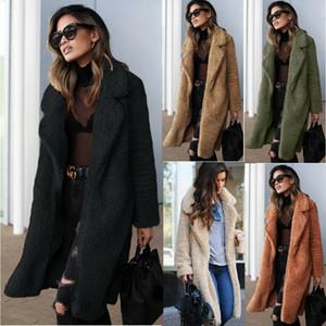 Femmes hiver hiver manteau à fourrure dames genou longue veste vintage survient épaissir les sommets