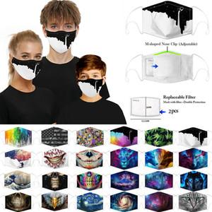 Réutilisable Femmes Hommes Enfants 3d Fun de protection Bouche Visage Masque Tissu Mark Facemask Hip Hop Washable Magic Party