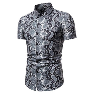 cotton leopard shirt large size cotton short-sleeved casual young men's shirt