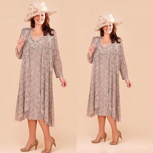 Платья для мамы невесты больших размеров с длинным жакетом и кружевом Аппликация Свадебное платье для гостей Длина чая Пляжная вечерняя одежда