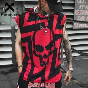 & Tees Tank Tops 11 BYBB'S DARK Hip Hop Tank Tops Shirt Hoodie Men 2020 Summer Sleeveless Skull Printed Color Block