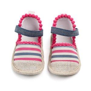 Baby Girl Summer Sandals Été Coton Toile Rayure Bébé Fille Toile Chaussures Nouveau Né Bébé Chaussures Sandales De Plage