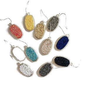 Мода Druzy Drusy серег Кендра серебро позолоченный Поддельный Природный камень Скотт серьги стержня для женщин Марка ювелирных изделий