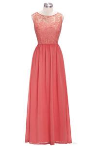 2020new длинные дешевые коралловые фиолетовые платья подружки невесты без рукавов шифоновые кружевные a-line vestido de madrinha de casamento longo