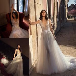 Летний пляж Boho Julie Vino свадебные платья 2019 линия V шеи кружева бисером свадебные платья 3D цветочные аппликации на заказ Vestidos