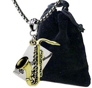Саксофон кулон ожерелье из нержавеющей стали хип-хоп титановая сталь жемчужная цепь
