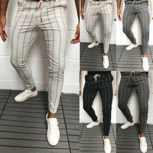 2020 Nouveau élégant Hommes Slim Fit Stripe Pantalons d'affaires formelles Bureau Casual Pantalons Skinny affaires costume formel Pantalons Robe