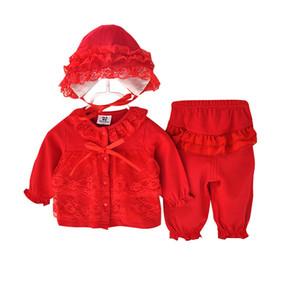 Baby Girl Lace Roupas Outono Moda Bebê Recém-nascido Conjunto de Roupas 0-12 M Algodão Casaco + Pant + Hat Baby Girl Roupas