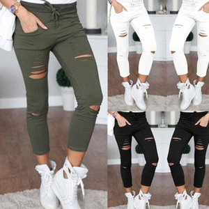 Women Denim Skinny Jeans Pants Holes Destroyed Knee Pencil Pants Casual Trousers Black White Stretch Ripped Jeans