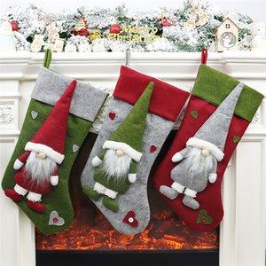 """19.3"""" Noel çorap Şeker Tutucu Noel Parti Süsleri JK1910 Asma Şömine Sevimli 3D Peluş İsveçli Gnome Noel çorap"""