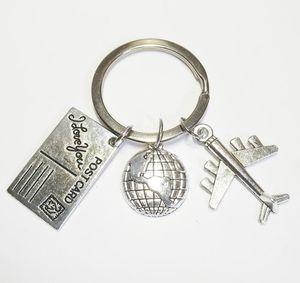 HEISS! Neue Art und Weise Travel Schlüsselanhänger, Globus und Flugzeug Keychain, Geschenk Handgemachte Reiseschmuck Flight Attendant 337