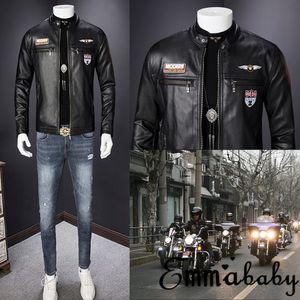 Giacca in pelle PU da allenamento per uomo Moda Autunno Nuovo Slim Slim Cerniera Moto Motociclista Caldo Zip Up Cappotto Capispalla M-3XL