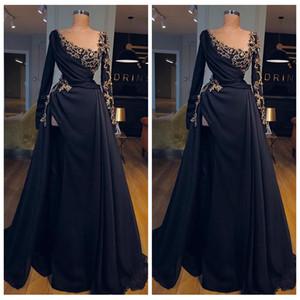 2021 colher pescoço mangas compridas a linha vestidos de noite com frisado feita sob encomenda preta vestidos de festa especial ocasião vestidos de ocasião robe de soiree