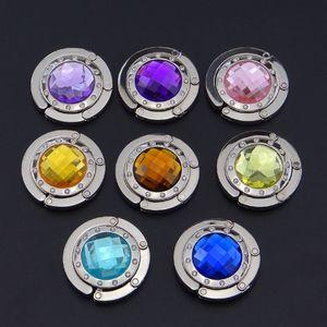 8 cor cristal metal DIY dobrável Glossy bolsa do saco bolsa Hanger Etiqueta dobrar Titular gancho de transporte da gota Restaurante Dinning Luggages
