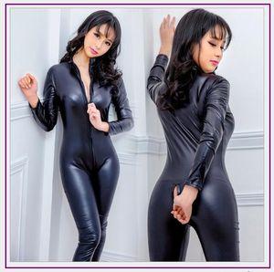 Nouveau Faux cuir Lingerie Sexy Jumpsuit Costumes Body Femmes Pvc Teddy Erotic Zentai justaucorps Costumes Latex Pole Dance Bodysuit1
