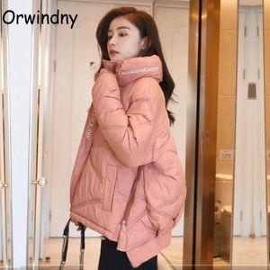 Orwindny inverno delle donne del rivestimento A-Line Caldo parka imbottito allentato Abbigliamento Lettera Elegante Cappotto femminile Abbigliamento Alta Via