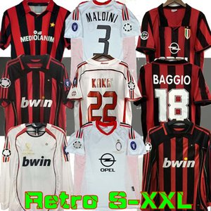manches longues 90 91 chemises Rétro maison 96 97 Gullit 02 03 FOOTBALL Maldini BAGGIO Van Basten le football RONALDO KAKA Inzaghi 06 07 AC MILAN