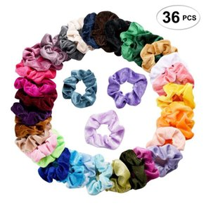 36 colores Solid Lady Hair Scrunchies Ring Bandas elásticas para el cabello Color puro Bobble Sports Dance Velvet Soft Lovely Scrunchie Hairband