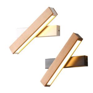 Lámpara de pared giratoria moderna nórdica de madera maciza LED Luz de noche junto a la cama Dormitorio Sala de estar Pasillo Pasillo Aplique Luminaria Decoración de pared Arte
