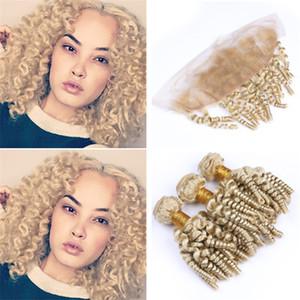 Platinum Blonde Aunty Funmi Curly Pacotes de cabelo com laço frontal Encerramento # 613 Loiro românicas Bouncy Ondas Humanos tramas do cabelo e Frontais