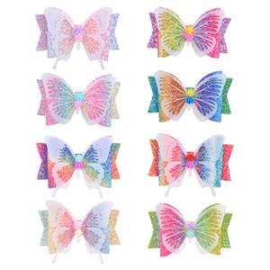 D6408 de 3,5 pulgadas brillo mariposa del arco de la pinza de pelo de las horquillas de las muchachas arco iris del gradiente de color pernos de pelo del partido de los accesorios Headwear Beach Decor 8Colors