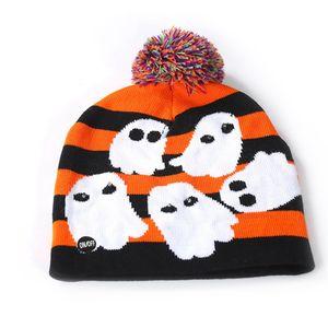Quente LED de Natal malha Beanie Hat LED Halloween Luz Crochet Hat Outdoor Inverno Pom Pom Bola Ski Cap TTA1849