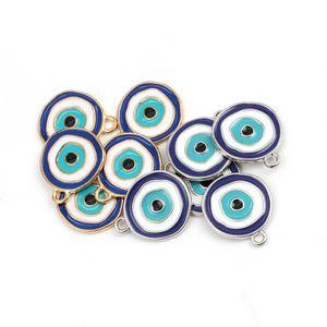 MEIBEADS 5 adet / lot Moda Evil Eye Charms Konektörler Altın Gümüş sikkeler Fit Diy Nazar paralar Kolyeler Mücevher bulma