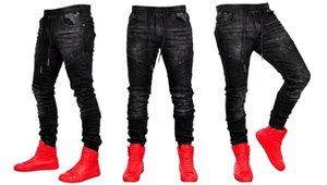 Panelli Erkek Jeans Moda hip hop tarzı İpli Kasetli Erkek Jeans Casual Erkek Giyim Cepler