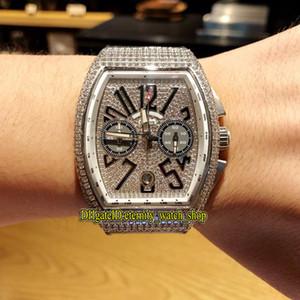 HOMEM COLECÇÃO VANGUARD V 45 CC DT NR BR (5N) Branco Dial Japão VK Quartz Chronograph Movimento Men Watch Diamond Bezel pulseira de couro