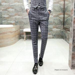 Brand Classic Plaid Men Pants Fashion 2018 Autumn New Slim Fit Trousers Men Wedding Bridegroom Dress Suit Pant Man Gray fashion