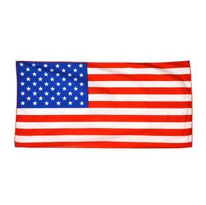 Amerikan Bayrağı Baskılı Dikdörtgen Plaj Havlusu 70 * 140 cm Mikrofiber Polyester Yetişkin Çocuk Banyo Havlusu Plaj Havlusu OOA6881-6