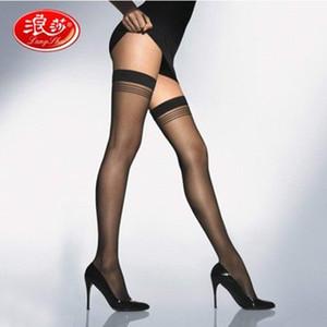 Mulheres marca meias de nylon despojado senhora sobre meias até o joelho senhora de alta qualidade meia Langsha