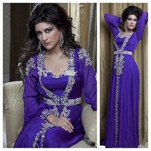 2020 nouvelles mousseline de soie pourpre robes de soirée musulmanes perles dubai arabes Turquie longue robe de soirée robes turques De Festa Vestido