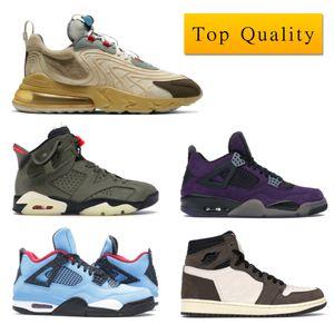 Top Quality Air Jordan 1 Retro High Travis Scott 4 Retro Jordan 6 Basketball Shoes Travis Scotts Man Turnschuh mit Kasten Max React ENG Cactus Trails Cactus Jack CN1084-200