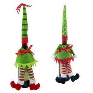 Weinflasche Abdeckung Weihnachtsdekoration Genius Puppe Tupfen-Streifen-Weinflasche Taschen für Heim Christma Partei HHA778