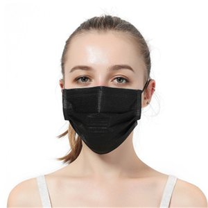 Disposable Face Mask Black Protective Designer Elastic for Mask Safety Anti Dust Cotton Mouth Masks 3 Layer Filter Earloop Non Woven Mouth M