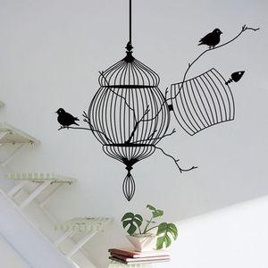 50 * 57 cm PVC etiqueta de la pared tallada pájaros de jaula de pegatinas de pared Decoración de la cama sala de estar para los niños