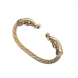 Huilin Jewelr Norse Animal Raven Head Bohemia Style Torque Cuff Bracelet para Cuff Bangle pulsera pulsera joyería