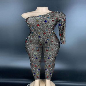 V61 Sexy women one-shoulder diamonds jumpsuit stretched female dance costumes crystal outfit drill siamese bar singer bodysuit party wears