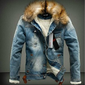 Fall-2017 Mens Jackets Fur Collar Fur Lining Denim Moto Thick Jacket Warm Coat Trench Outwear 2 Colours Size M-3XL Free Shipping B700605