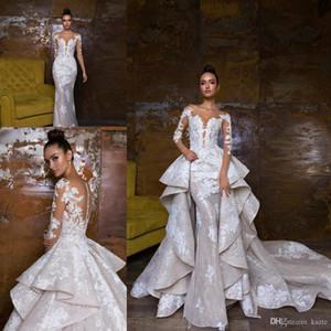 Abiti da sposa di lusso della sirena con il vestito da cerimonia nuziale del paese del corsetto di illusione del vestito nuziale appliqued del merletto del treno staccabile
