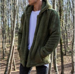 Men Double plush Jacket 19ss Winter Designer Warm hooded zipper Coats Solid Color with Pockets Hombres coat outwear new LJJA3014