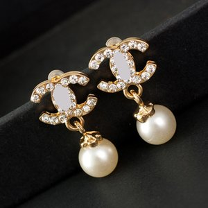 2020 Rhinestone Letter Paris Designer Earrings for Women Fashion Brand Pearl Stud Earrings Jewelry Gifts Gold High Quality