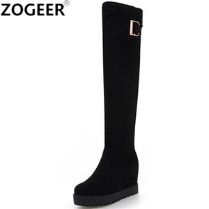 Plus Size 43 Classic Wedges Long Boots Women Winter Height Increasing Black Knee High Boot Stretch Fabric Flock Thigh High Shoes