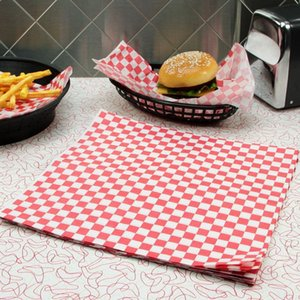 """100pcs lot 12''x 12"""" Red and White Checkered Food Grade Wax Coated Paper Red Check Dry Wax Paper Deli Wrap and Basket Liner LZ1128"""